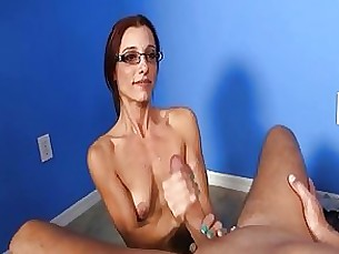 couple glasses handjob hot jerking masturbation milf