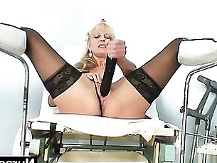 blonde dildo fetish masturbation mature milf pussy toys uniform